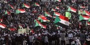 Protester i Sudan i mitten av juli. Mahmoud Hjaj / TT NYHETSBYRÅN/ NTB Scanpix