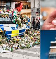 Polishyllning efter terrordådet på Drottninggatan, en rökare och Karolinska. TT