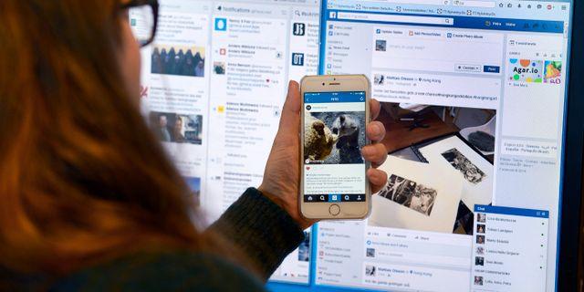 En kvinna är inne på Facebook och Twitter/arkiv. Janerik Henriksson/TT / TT NYHETSBYRÅN