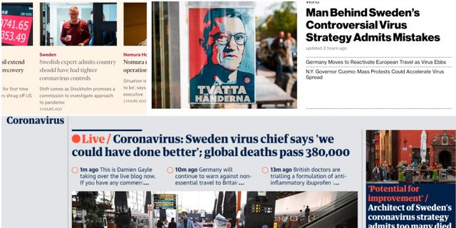 Förstasidorna hos Financial Times, Bloomberg och The Guardian.