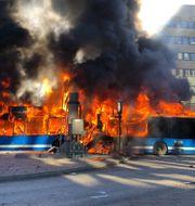 Bussen kort efter smällen. Christofer Dracke
