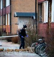 Polisens kriminaltekniker undersöker den skadade entrén till ett flerfamiljshus i Höganäs. Johan Nilsson/TT / TT NYHETSBYRÅN