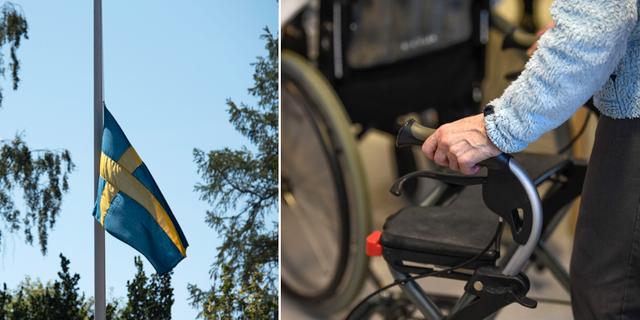 Flagga på halv stång/Hand på rullator.  TT