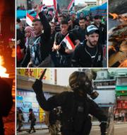 Protester i Frankrike, Iran, Chile och Hongkong. TT