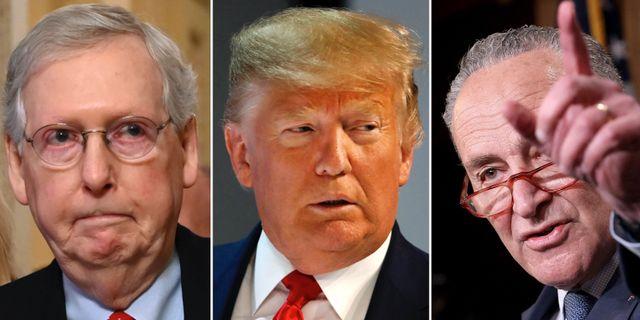 Mitch McConnell, Donald Trump och Chuck Schumer. TT
