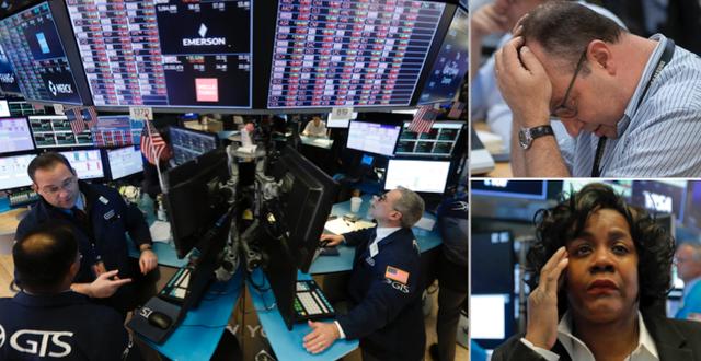 Deppiga miner på Wall Street. TT