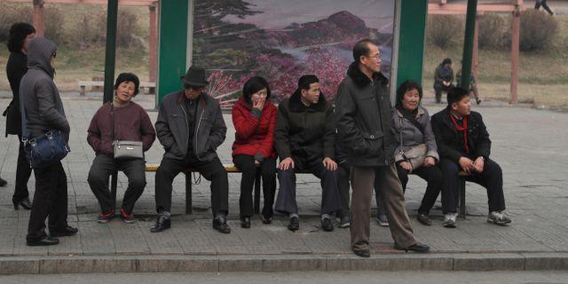 Bild från en hållplats i Pyongyang. Dita Alangkara / TT NYHETSBYRÅN/ NTB Scanpix