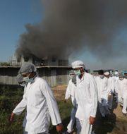 Anställda lämnar den brinnande fabriken.  Rafiq Maqbool / TT NYHETSBYRÅN