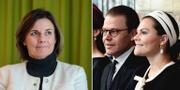 Isabella Lövin (MP) och prins Daniel och Kronprinsessan Victoria. TT