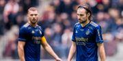 Djurgårdens Jesper Karlström och Kevin Walker.  ANDREAS SANDSTRÖM / BILDBYRÅN