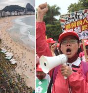 Demonstrationer i Wien, Rio de Janeiro och Taiwan. TT