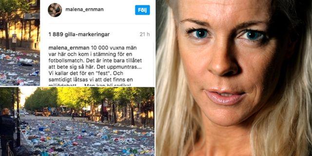 Malena Ernman skrev om nedskräpningen på Instagram. Instagram/TT