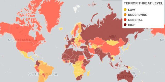 Brittiska dagstidningen The Telegraph har tagit fram en karta över risken för eventuella terrorattacker baserad på World Economic Forums statistik. The Telegraph