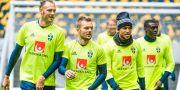 Fotbollslandslaget under träningspass inför VM-kvalmatch mot Luxemburg. Claudio Bresciani/TT / TT NYHETSBYRÅN