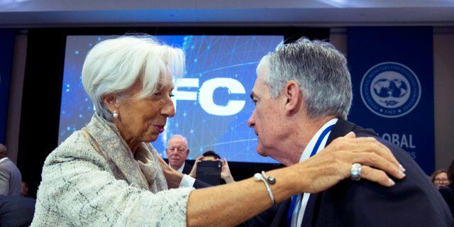 ECB-chefen Lagarde och Fedchefen Powell. Arkivbild. Jose Luis Magana / TT NYHETSBYRÅN