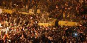 Firande demonstranter efter att Mubarak avgick 2011.  Asmaa Waguih / TT NYHETSBYRÅN