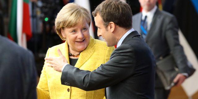 Angela Merkel och Emmanuel Macron, bild från 14 december 2017. LUDOVIC MARIN / AFP