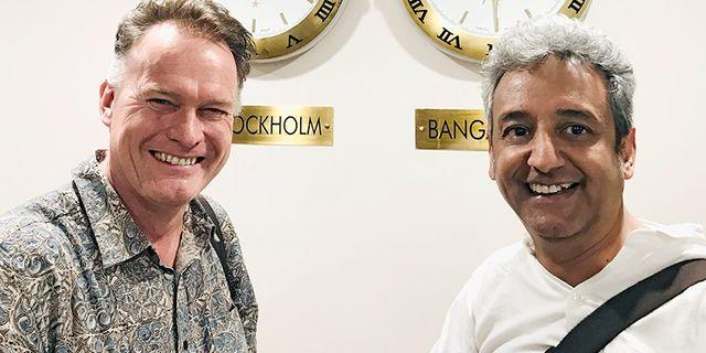 Crunchfish vd Joachim Samuelsson och Vijay Raghunathan som är bolagets representant i Indien.  Crunchfish