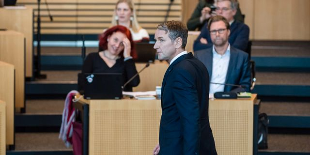AFD:s starke man i Thüringen, Björn Höcke, gläds över utvecklingen. JENS SCHLUETER / AFP