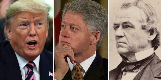 Donald Trump, Bill Clinton och Andrew Johnson. TT