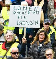 Bild från tidigare demonstration med den grupp som då hette Bensinupproret.  Claudio Bresciani/TT / TT NYHETSBYRÅN