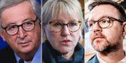 EU-kommissionens ordförande Jean-Claude Juncker/Sveriges utrikesminister Margot Wallström (S) på ett möte med EU:s ministerråd/Europaparlamentarikern Fredrick Federley (C). TT