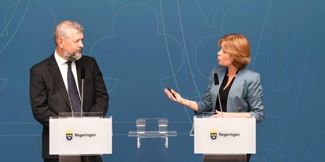 Bild på pressträffen. Fredrik Sandberg/TT / TT NYHETSBYRÅN