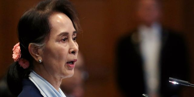 Aung San Suu Kyi under processen i Internationella domstolen i Haag. Yves Herman / TT NYHETSBYRÅN