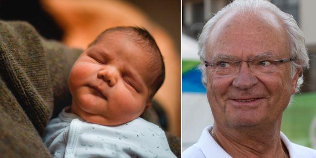 Nyfödde Nils kan vara Sveriges tiomiljonte invånare. Arkivbild på kungen till höger. TT