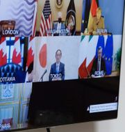G7-mötet genomfördes via videosamtal. Olivier Hoslet / TT NYHETSBYRÅN
