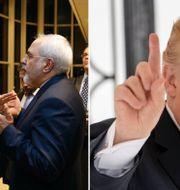 Arkivbild från 2016 på John Kerry och Mohammad Javad Zarif/Donald Trump.  TT