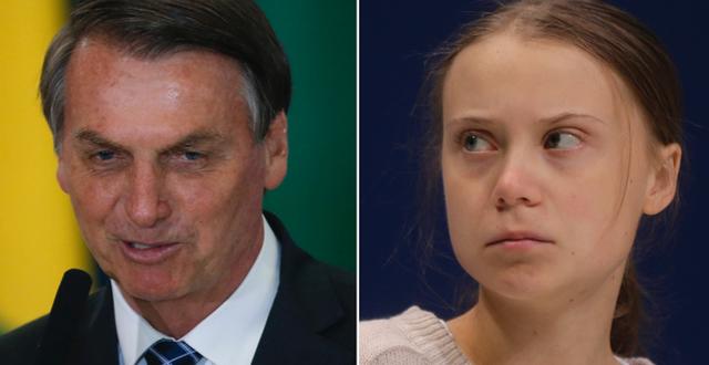 Bolsonaro och Thunberg. TT