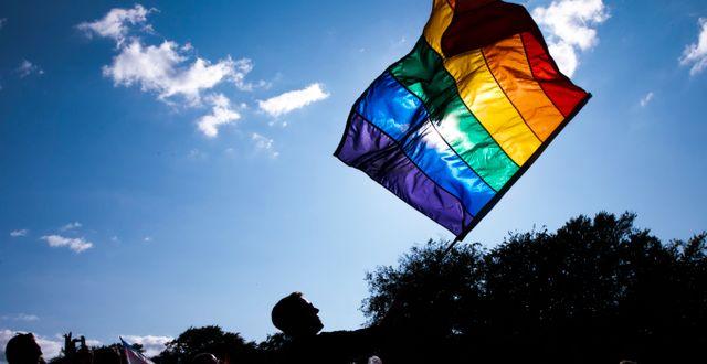 Prideflagga/Illustrationsbild Olafur Steinar Gestsson / TT NYHETSBYRÅN