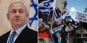 Benjamin Netanyahu/Demonstranter som stödjer honom.  TT