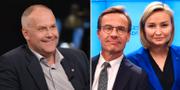 Jonas Sjöstedt (V), Ulf Kristersson (M), Ebba Busch Thor (KD). Arkivbilder. TT