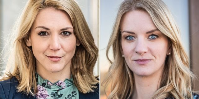 Nordnets Frida Bratt och Danske Banks Maria Landeborn. Arkivbilder. TT