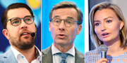Jimmie Åkesson (SD), Ulf Kristersson (M) och Ebba Busch Thor (KD) TT