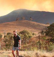 Branden är nära södra delarna av Canberra. Rod McGuirk / TT NYHETSBYRÅN