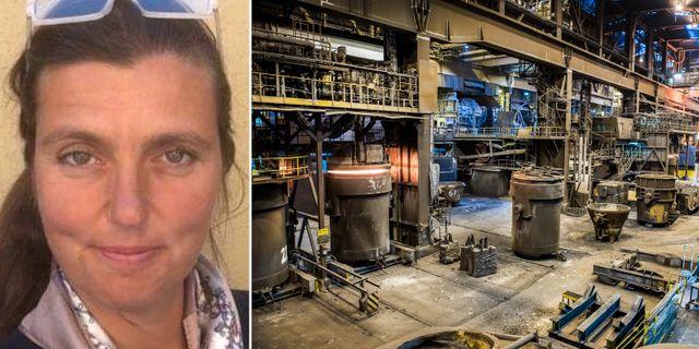 SSAB:s presschef Mia Widell/anläggningen i Oxelösund.  SSAB/TT.