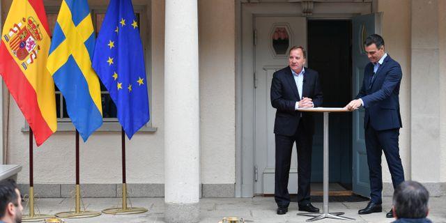 Statsminister Stefan Löfven och Spaniens premiärminister Pedro Sànchez i samband med ett möte i veckan. ERIK SIMANDER / TT NYHETSBYRÅN