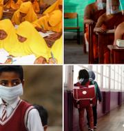 Illustrationsbild, skolbarn i Somalia, Thailand (munkskola), Indien och Frankrike. TT
