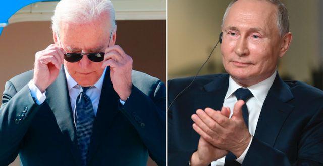 Joe Biden och Vladimir Putin. TT