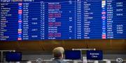 Arkivbild: Tavla med avgångar på Arlanda flygplats visar inställda flyg på grund av SAS-piloternas strejk i april i år.  Tove Eriksson/TT / TT NYHETSBYRÅN