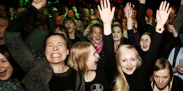 De Grönas valvaka i Helsingfors. LEHTIKUVA / TT NYHETSBYRÅN