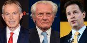 Storbritanniens tidigare premiärminister och förre LabourledarenTony Blair  protesterar mot brexit tillsammans med Michael Heseltine, som  innehaft flera ministerposter i konservativa regeringar och Nick Clegg, före detta vice premiärminister och partiledare för Liberaldemokraterna. AP