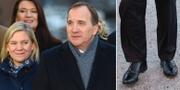 Statsminister Stefan Löfven fotograferas med sin nya regering/Stefan Löfvens skor. TT