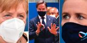 Angela Merkel, Mark Rutte och Mette Frederiksen. TT