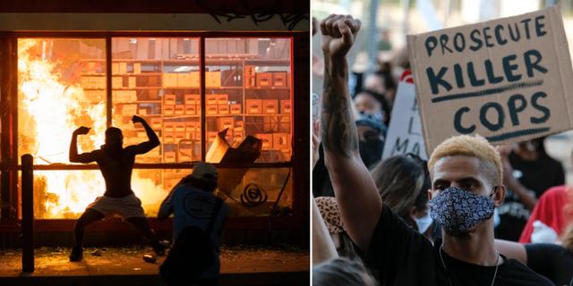 Bilder från demonstrationer och våldsamheter i Minneapolis. TT