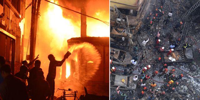 Räddningsarbetet efter branden. TT