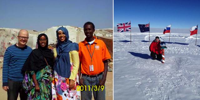 Markus i Tchad 2011 och Sydpolen 2015. Privat / Publicerat i Vagabond
